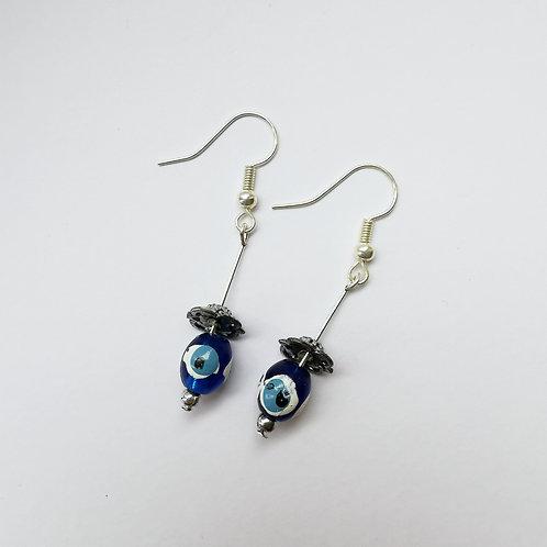 Silver Plated Dangle Earrings - Turkish Eye