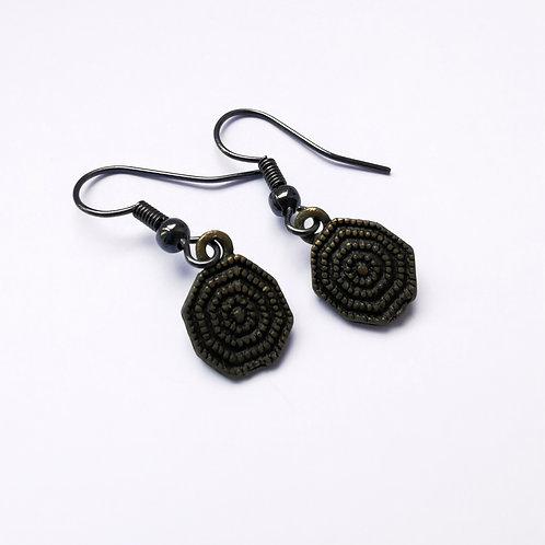 Black Antique Dangle Earrings - Brass Pendants