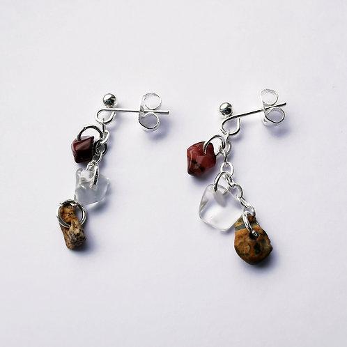 Silver Plated Stud & Chain Earrings - Earth