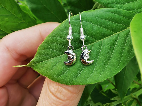 Silver Plated Dangle Earrings - Crescent Moon