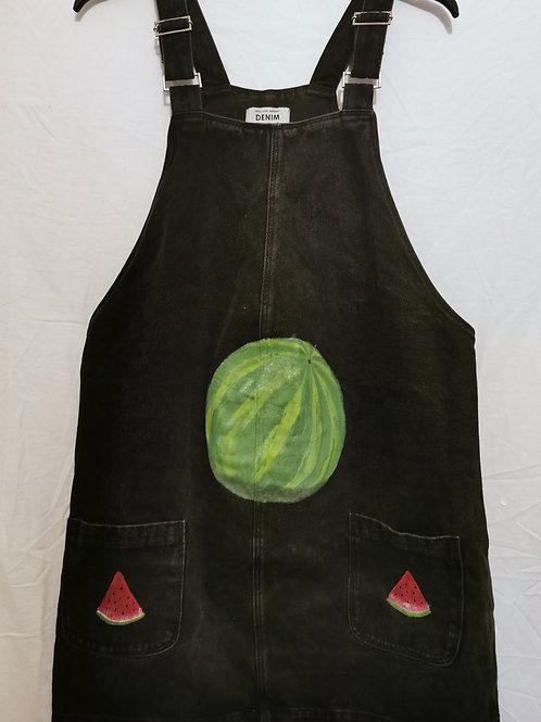 Black Denim Dress with Watermelon Design