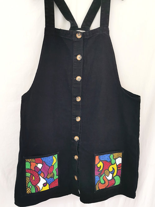 Black Denim Dress With Abstract Print