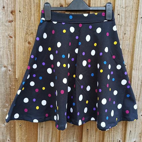 """Black Polka Dot Skirt (Waist 24""""-28"""")"""