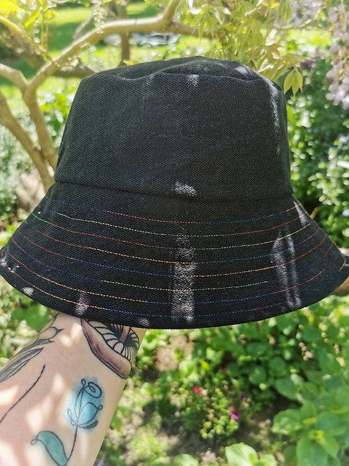 "Black and Rainbow Bucket Hat - 23""-24"""
