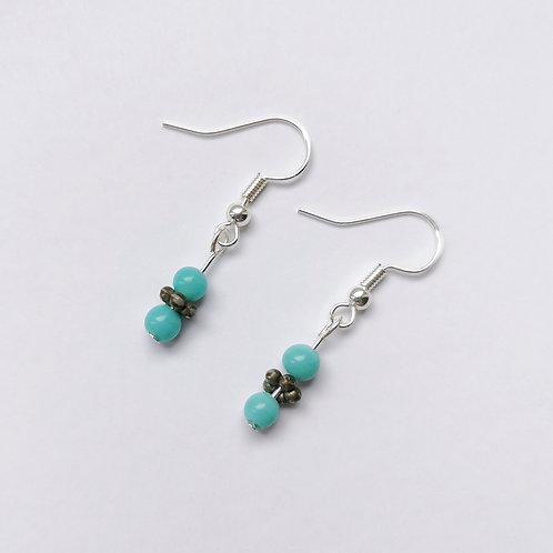 Silver Plated Dangle Earrings - Beady Blue