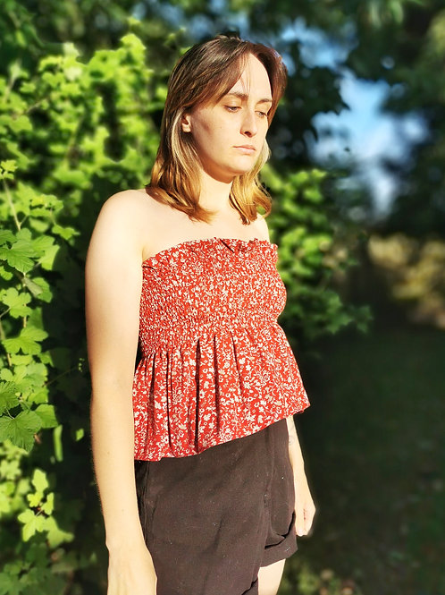 Ditsy Red Floral Shirred Top - XXS/XS/S/M