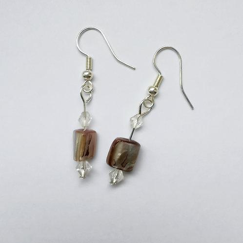 Silver Plated Dangle Earrings - Striped Stone
