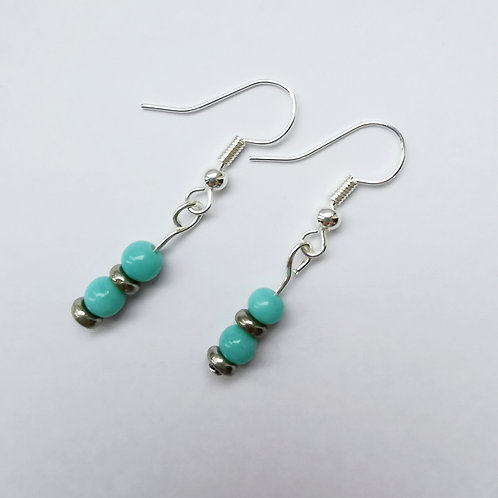 Silver Plated Dangle Earrings - Mirrored Blue