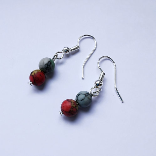 Silver Plated Dangle Earrings - Red & Green