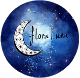 floral moon logo with galaxy background