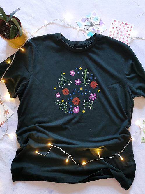 Floral Circle on Green T-shirt