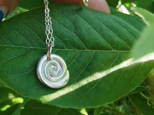 Sterling Silver Mini Swirl Pendant Necklace