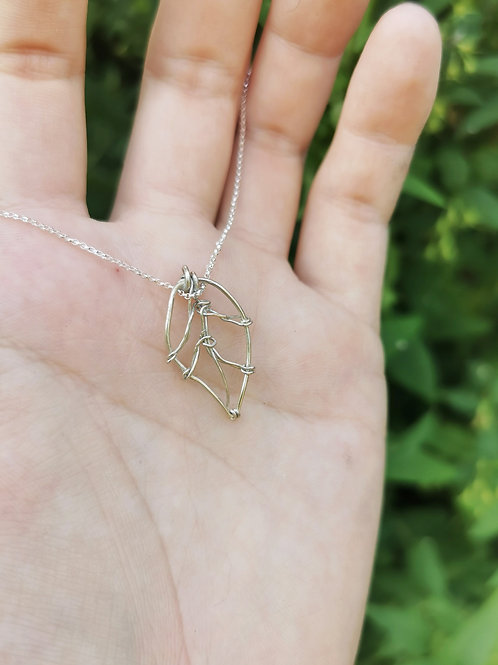 Sterling Silver Wire Leaf Charm Necklace