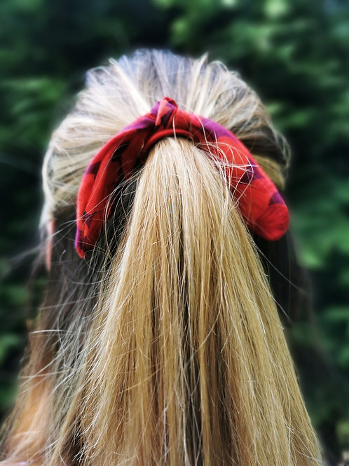 Knotted Hair Bow - Red Floral