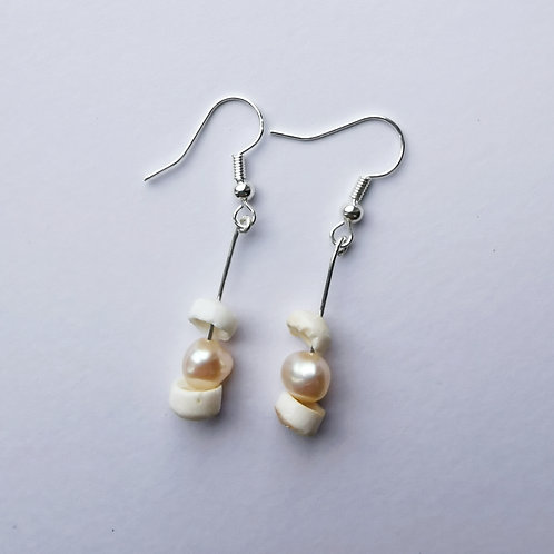 Silver Plated Dangle Earrings - Freshwater Pearl and Puka Shell