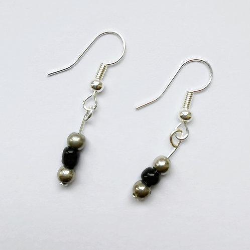 Silver Plated Dangle Earrings - Mirrored Black
