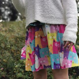 Multicoloured cats skater style skirt