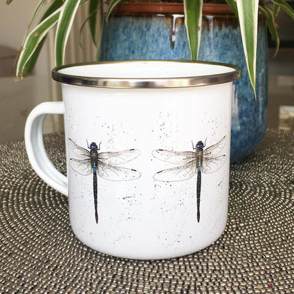 Dragonfly, Enamel Camping Travel Mug