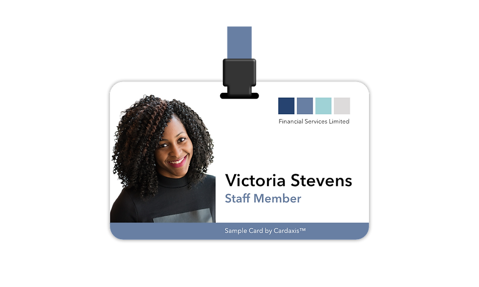 Sample photo ID card with a blue design by cardaxis