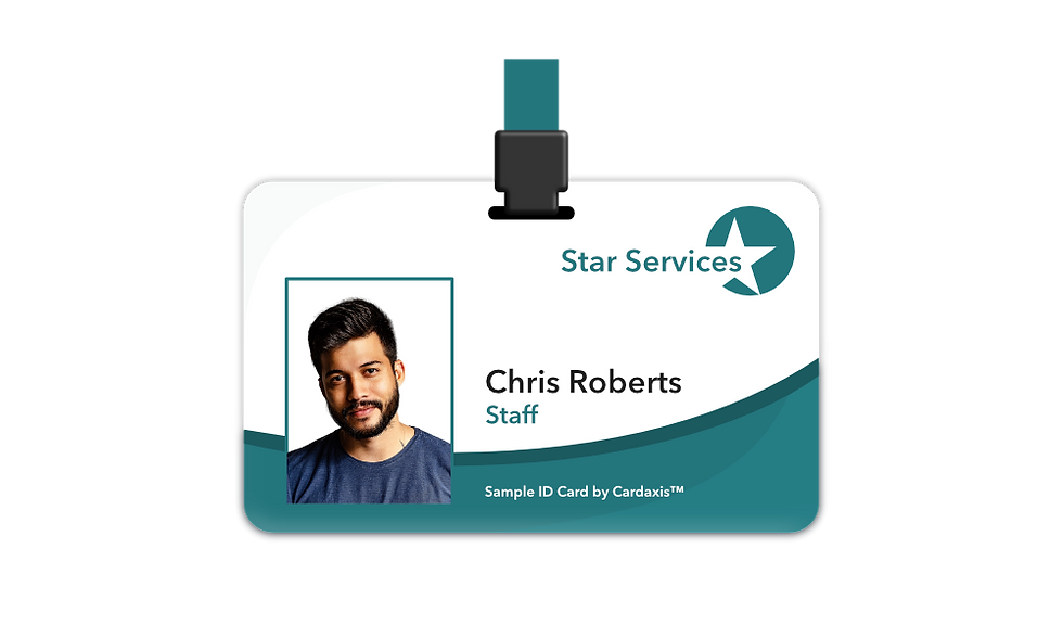 Sample photo ID card with a green design by cardaxis