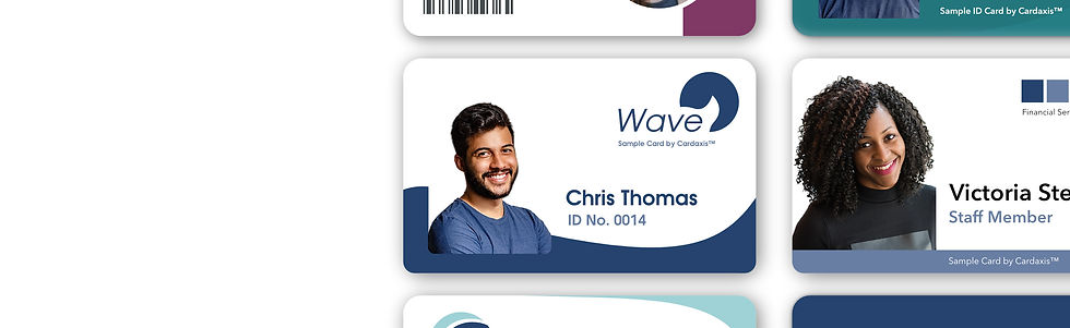 Samples of custom printed photo ID cards by cardaxis