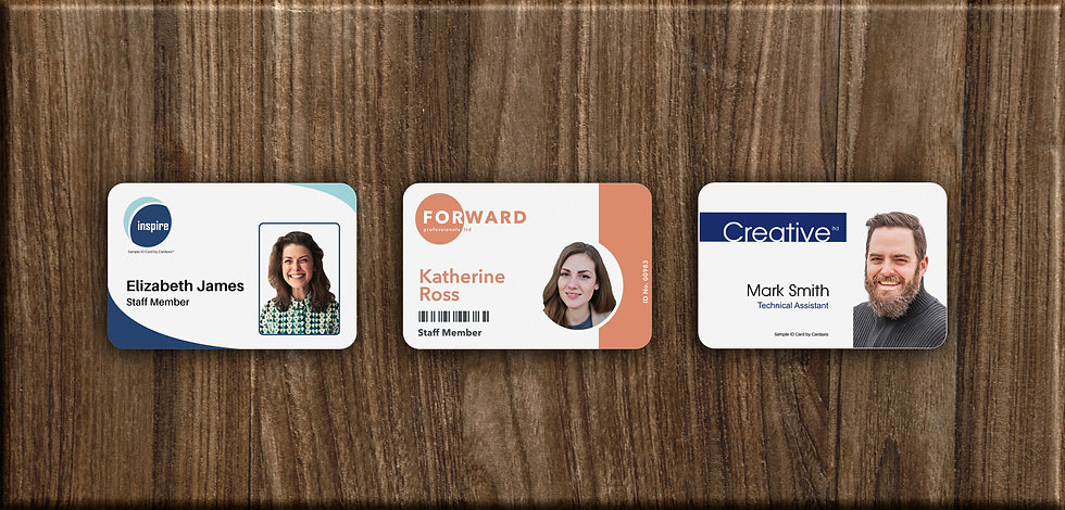 A sample set of three custom printed photo ID cards with different designs