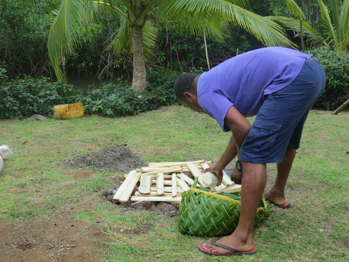 Traditional Fijian lovo, Naivivi Bay in Fiji