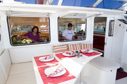 Mauliola's cockpit dining area