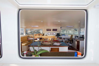 Mauliola view into salon from cockpit