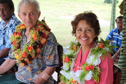 Presented with beautiful leis