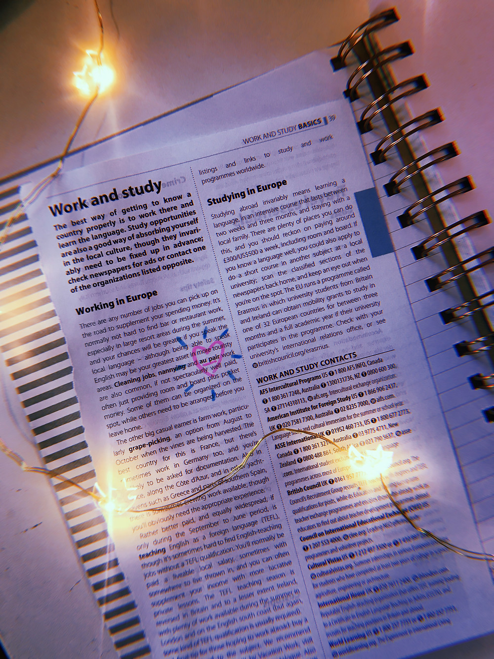 Pretty feminine tea lights scattered across a European work and study travel book with au pair