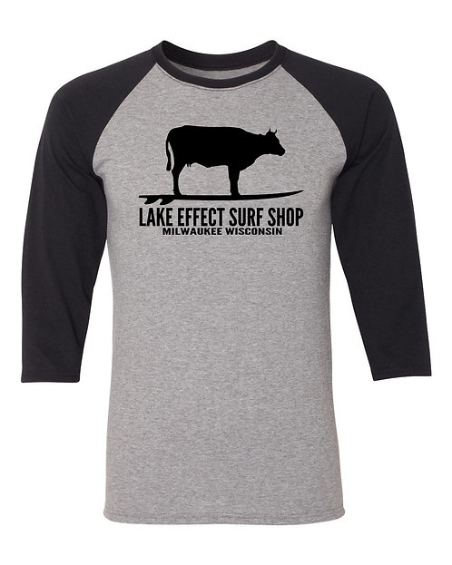 Lake Effect Unisex Surfing Cow Long Sleeve T-Shirt (Black)