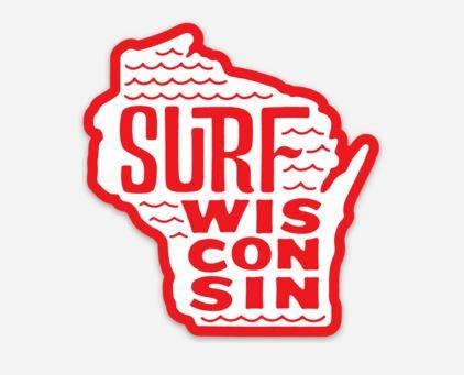 Surf Wisconsin State Sticker (Red/White)