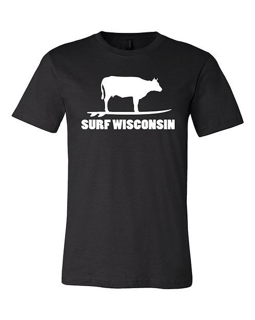 Surf Wisconsin Cow Unisex T-Shirt (Black)