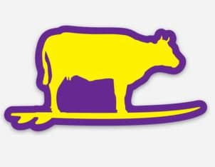 Surfing Cow Sticker (Purple/Yellow)