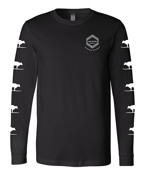 Lake Effect Chevron/Surf Cow Unisex Longsleeve T-Shirt (Black)