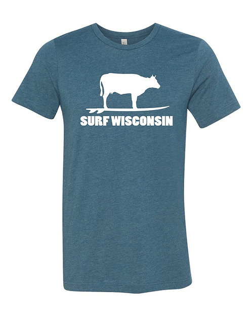 Surf Wisconsin Cow Unisex T-Shirt (Teal)