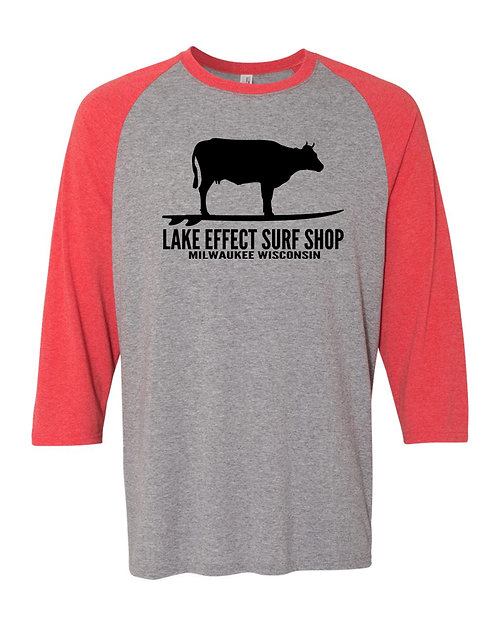 Lake Effect Unisex Surfing Cow Long Sleeve T-Shirt (Red)