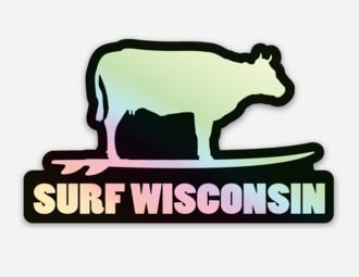 Surf Wisconsin Cow Sticker (Black/Holographic)