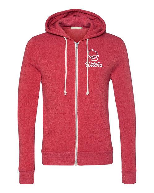 Wiloha Unisex Zip Up Sweatshirt (Red)