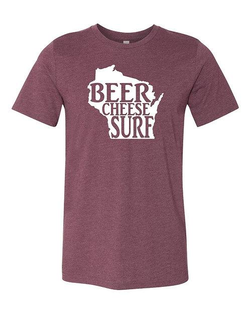 Beer Cheese Surf Unisex T-Shirt (Maroon)