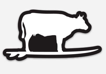 Surfing Cow Sticker (Black/White)