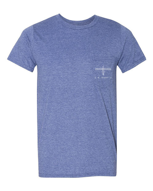 Wave Knife Unisex Pocket T-Shirt (Blue)