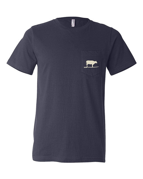 Surf Cow Unisex Pocket T-Shirt (Navy)
