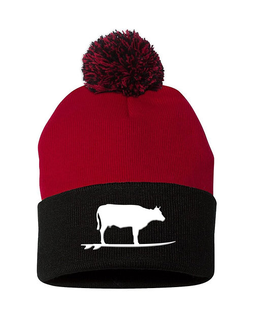 Surfing Cow Pom Beanie (Red/Black)