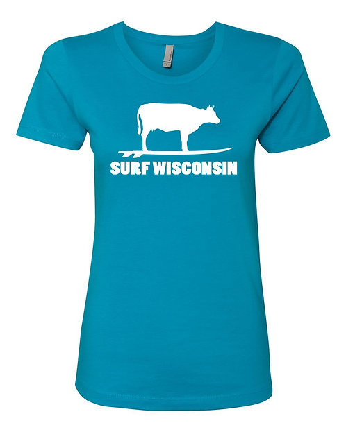 Surf Wisconsin Cow Surf Ladies T-Shirt (Turquoise)
