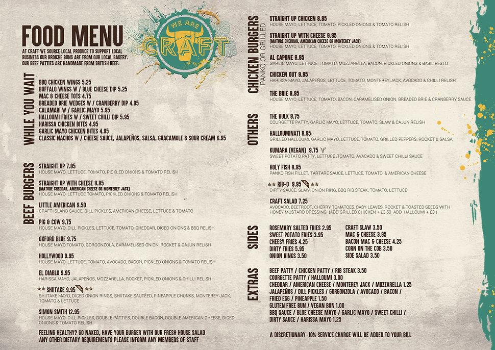 Craft burger A3 food menu 2020  Ready To
