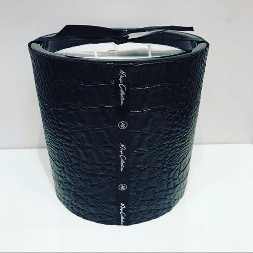 CROCO BLACK HANDMADE CANDLE 14CM