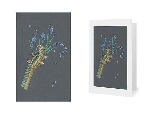 Carte de vœux - violon fleuri