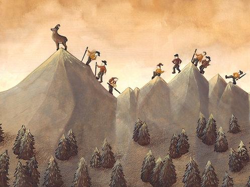 carte - montagne, chamois et randonneurs
